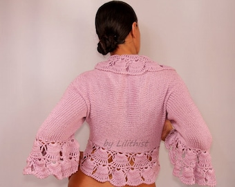 Pink Wedding Bolero, Bridal Shrug Bolero, Crochet Bolero, Knit Shrug, Bolero Jacket, Sweater, 3/4 Bell Sleeve Cardigan, Crochet Shrug / SALE