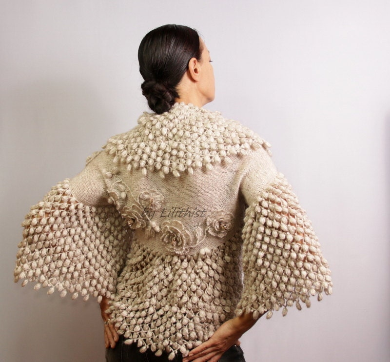 Knitting Pattern For Shrug Sweater : Champagne Shrug Bolero Bridal Shrug Sweater Wedding Shrug