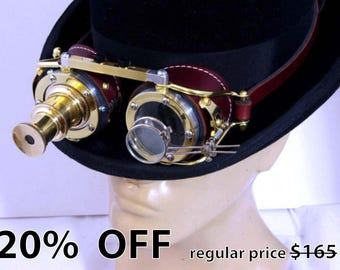 Steampunk Goggles Goth Theatrical Industrial Brass Telescopic Telescope Cosplay LARP BROWN