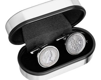52nd Birthday Present -1965 Old English sixpence- Genuine coins from England-Cufflinks for Men