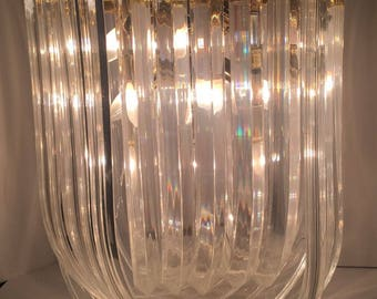 large lucite ribbon chandelier