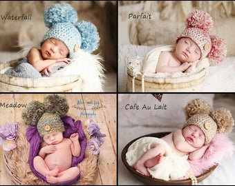 Crochet Baby Hat/ Newborn Photography Prop/ Double Pom Pom Beanie/ Baby Girl Hat/ Baby Boy Hat/ Newborn Photo Prop