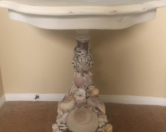 Vintage Italian Pie Crust Side Table ~ Grotto Shell Art ~ Old White Chalk Paint ~ BEACH CHIC...
