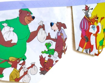 ROBIN HOOD Banner Disney Vintage Little Golden Book Bunting Children eco Paper Decoration nursery story book Baby shower Birthday party