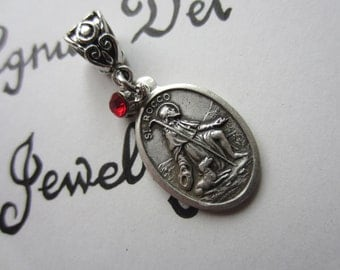 St Rocco Medal & Red Glass Charm Pendant Necklace Patron Saint Medal Italy Catholic Jewelry Religious Gift Contagious Diseases Invalids