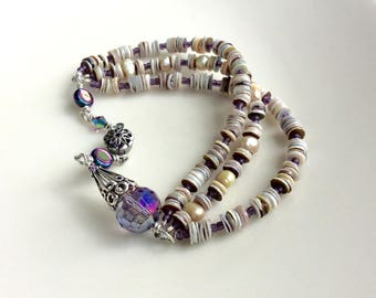 Layered seashell beaded cuff bracelet / wire wrapped jewelry / heishi seashells / purple faceted Czech glass