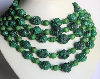 Vintage green glass bead necklace. 5 row necklace. 5 strand necklace
