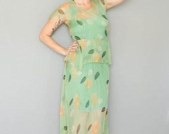 Birthday Sale - Vintage 1930's Floral Sheer Green Dress