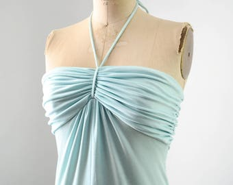 Vintage 1970's Ice Blue Halter Dress Studio 54 Style