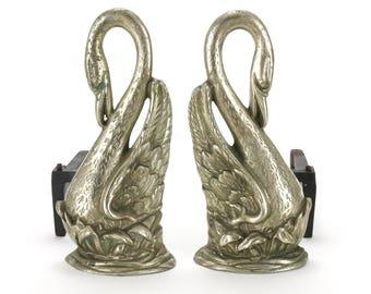Vintage Pair Brass Swan Fireplace Log Andirons Firedog NEW YORK Rare
