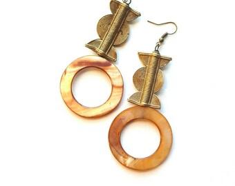 Large bohemian shell and brass earrings//carved brass drop earrings// Boho chic shell dangle earrings