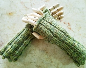 Wildling Knits Pair of Hand Knit Warm Earthy Green Arm Warmers Ready To Ship