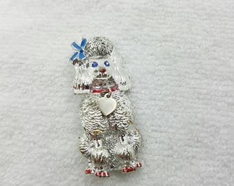 Sarah Coventry Poodle  Brooch 1960 silver tone and enamel Hostess Gift dog lover