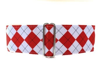 2 Inch Martingale Collar, Martingale Collar Greyhound, Red and White Martingale Collar, Argyle Martingale Collar, Red and White Dog Collar
