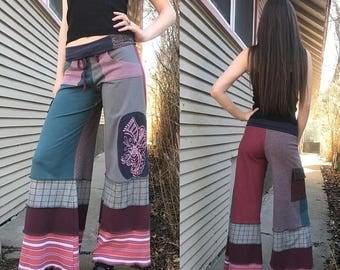 SALE Patchwork Eco Gaucho PANTS, Size XS,eco clothing, patchwork pants, hippie pants, festival pants,  wide leg pants, bright mix, Zasr