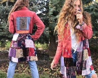 SALE Patchwork Hippy Jacket, Size M,festival jacket, patchwork blazer, eco jacket, upcycled jacket, hippy coat,corduroy jacket, penny lane,
