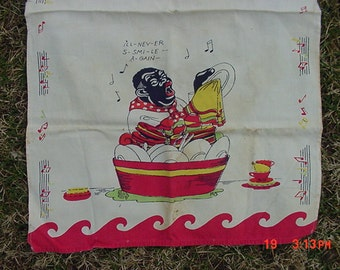 Vintage Linen Dish Towel Black Americana I'll Never Smile Again  17 - 188