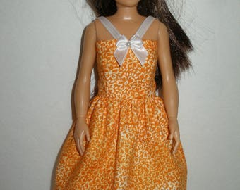 Handmade clothes for doll such as Lammily- orange floral dress