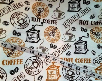 Flannel fabric with coffee cups beans espresso latte cappuccino cotton print quilt sewing material to sew crafts by the yard BTY java junkie