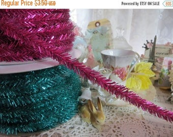 Store Closing SALE Wire Tinsel-5 yards-Raspberry-Garland-Christmas