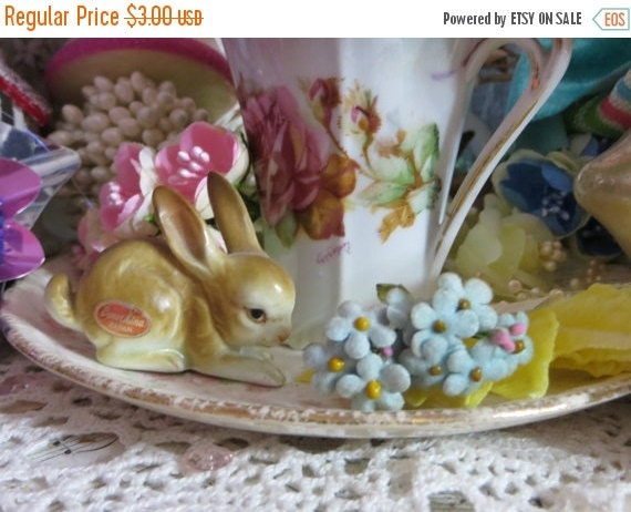 ON SALE Vintage German Millinery Nosegay Posies-Forget Me Not-Paper-flocked-wire-2 bunches per listing-Hats-Dolls-Decor-Old Stock