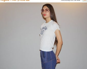 40% Limited time SALE  - Vintage 1970s Paper Thin White Crew Nautical Sailor T Shirt - Screen Stars 70s Tee  - Vintage 50/50 cotton poly T S