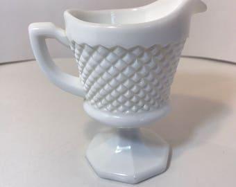 Vintage Milk Glass Creamer - English Hobnail pattern by Westmoreland