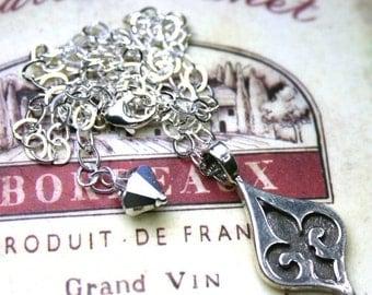 ON SALE The Grand Fleur-de-Lis Pendant - Solid Sterling Silver and Vintage Swarovski Crystal Necklace - Parisian Necklace