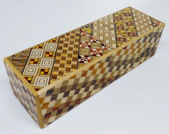 Japanese Puzzle box (Himitsu bako) Long 187mm (7.3inch) 5 steps Yosegi