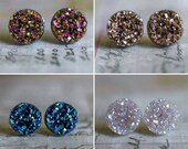 Set of Four Pairs of Faux Druzy Earrings - Stocking Stuffer, Gift for Teen, Gift for Mom, Gift for Friend, Christmas Gift, Gifts Under 10
