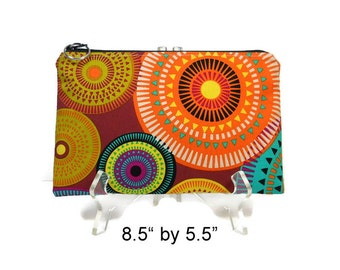 Colorful Zipper Pouch, Medium Cosmetic Bag, Make Up Zip Bag, Pencil Case, 8.5 by 5.5 pouch, E-Cig Pouch, Padded Zipper Pouch, Fabric Pouch
