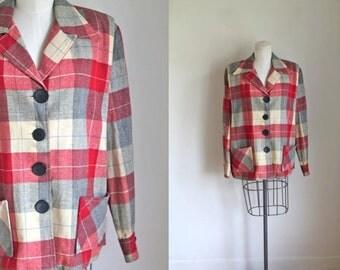 vintage 1940s 49er jacket - CABIN FEVER wool plaid blazer / L-XL