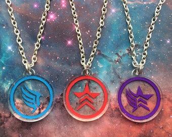Mass Effect - Friendship necklace set - Commander Shepard - Paragon Renegade Paragade - FREE SHIPPING