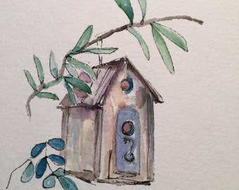 Birdhouse Watercolor Card/ Hand Painted Watercolor Card