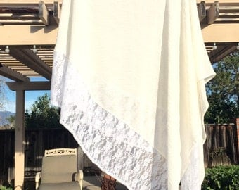 Cream Swim Suit Cover Up with White Lace Honeymoon Coverup Travel  Tunic Poolside Wear Beach Cover Up by Freckles California