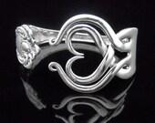 Fork Bracelet, Silverware Jewelry in Heart Design Number Three, Valentine's Day Gift