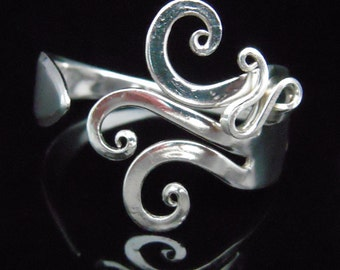 Vintage Silverware Jewelry - Fork Bracelet in Original Fancy Design Number Seven