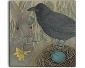 SPRING Raven on 2-inch ceramic tile magnets, original design home decor kitchen magnets, corvid bird art, wildlife fantasy moon