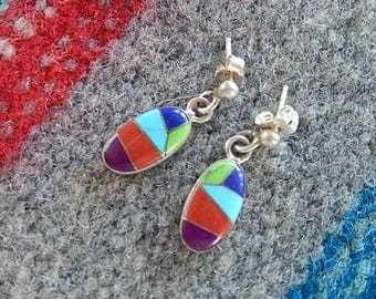 Inlaid Multistone Earrings,  Turquoise, Coral, and Lapis Earrings, Sterling Silver, Small Dangles, Vintage Earrings, Gift for Her