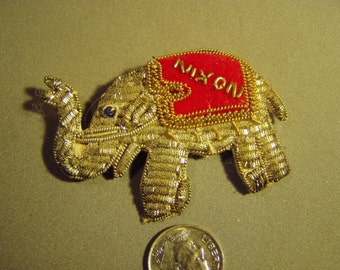 Vintage Richard Nixon Campaign Elephant Fabric Pin Made in India 9010