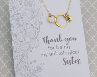 Gift for Unbiological Sister, Sisters for Eternity Necklace, Gold Double Circle Ring Necklace, 24k Gold Vermeil Two Link Necklace