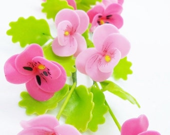 Miniature Polymer Clay Flowers Supplies Pansy with Leaves 12 stems