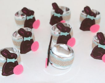 Chocolate Bunny Napkin Rings Set of 8