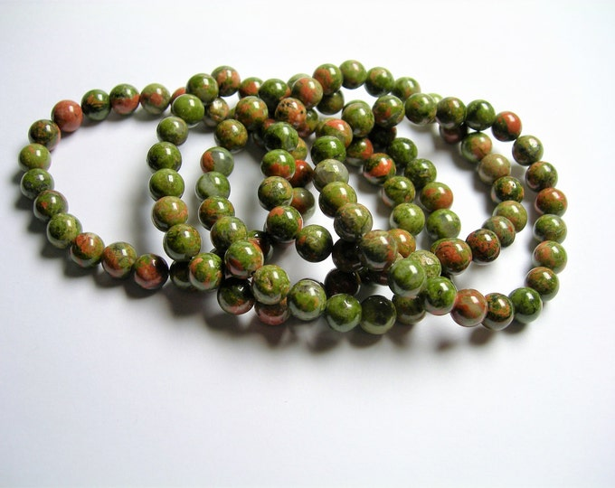 Unakite - 8mm round beads - 23 beads - 1 set - A quality - HSG40