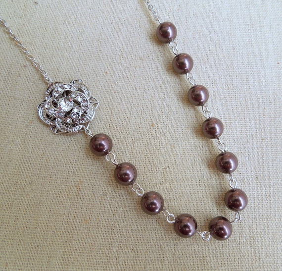 Pearl Necklace,Bridal Rhinestone Necklace,Swarovski Pearls, Rhinestone Rose Necklace, Pearl Bridal Necklace, Burgundy Pearl, Rose, ROSELANI