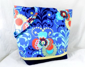 Medium Tote Bag, Large Amy Butler Bag, Shoulder Bag, Love Fabric, Periwinkle in Flowers, Book Bag, Work Tote, Carry All
