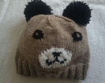 Sweet Panda Hat,Handmade Panda Hat,Winter Panda Hat, Knitted Panda hat,Adult,Animal Hat,Hand Made,Made to Order