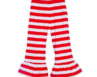 STRIPED RUFFLE PANTS - Red and White Stripe, Green and White Stripe, Brown and White Stripe, Mustard and White Stripe Ruffle Pants