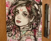 Stars - 6x8 Original Ink and Watercolor Illustration Art Astronaut Girl Moon Pink Black and Teal Lowbrow Tattoo Art Gift