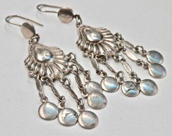 European Dangle Earrings Tribal Style Ethnic Jewelry Silver Chandeliers Chandelier Earrings Antique Earrings Vintage Jewelry Signed European